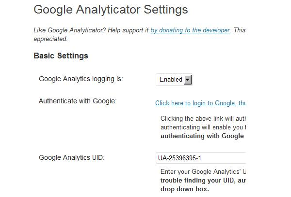 Wordpress plugin - Google Analyticator